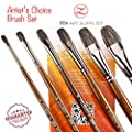 ZenART Oil & Acrylic Paint Filbert-Brushes – 6pc Professional Brush Set 2, 4, 6, 8, 10, 12 with Durable Badger/Synthetic Bristles – PVC Travel Pouch, Long Lacquered Birchwood Handles, No Shedding
