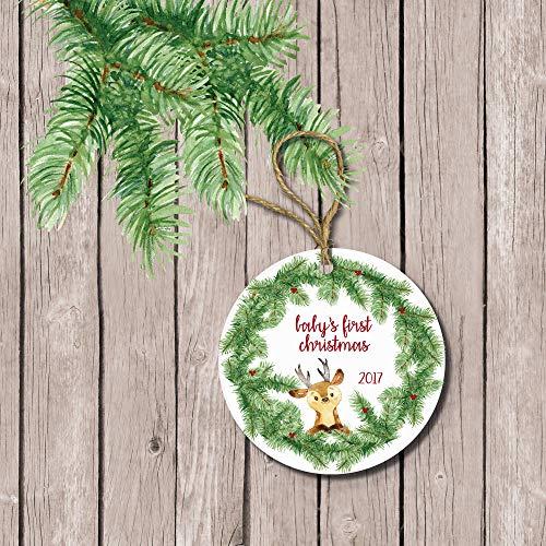Baby's First Christmas Ornament Bear Ornament Woodland Ornament New Parents First Christmas Baby Boy Deer