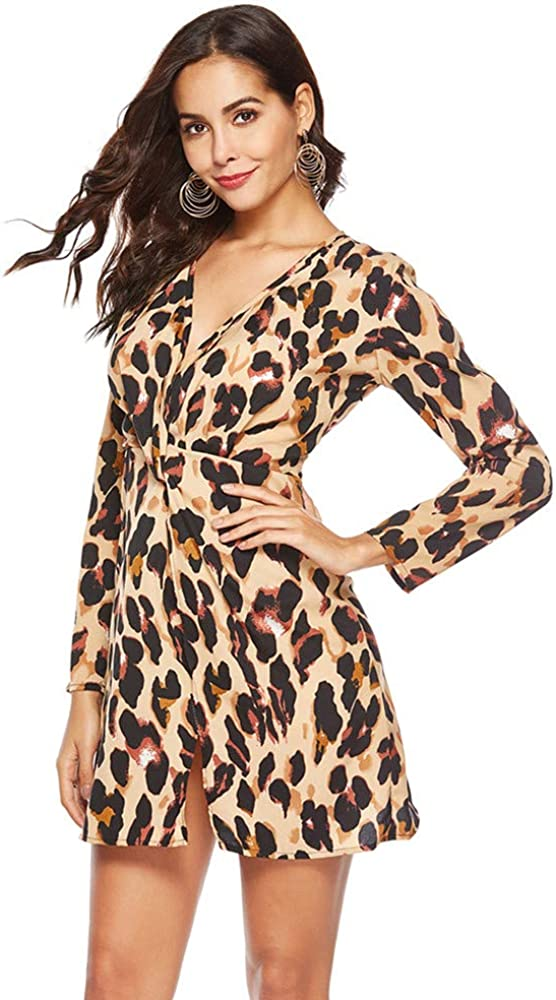 MYMYG Damen V-Ausschnitt Leopard Print Kleid Schlange Print Kleid Damen Langarm Party Minikleid Abendkleid Party Kleid Elegante Kleider Winter Einfarbig Cocktailkleider Gelb
