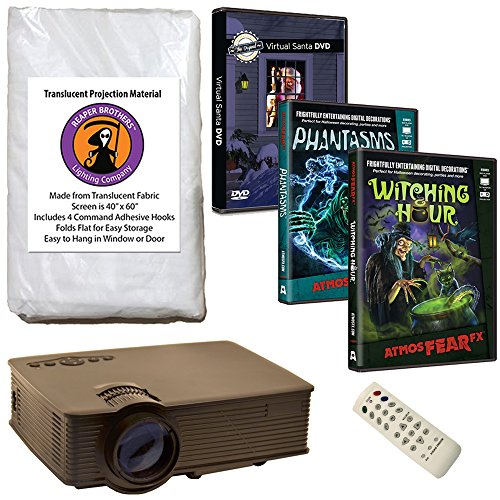 AtmosFearFX Phantasms & Witching Hour Virtual Reality HD Projector Kit for Halloween. Includes Free Virtual Santa DVD!