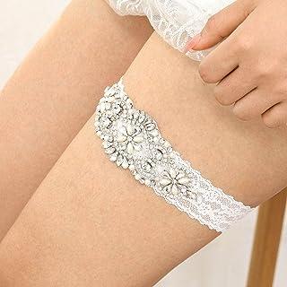 IYOU Brillante Cristal Novia Liga Costoso Diamante de imitación Cinturones de pierna Boda Nupcial Paseo Cordón Liga por Mu...