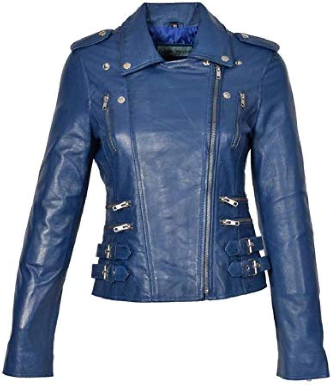 New Fashion Style Women's Leather Jackets bluee E77_