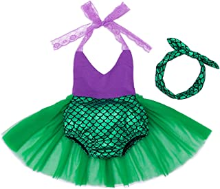 AmzBarley Girls Romper Mermaid Dresses for Toddler Baby Birthday Gifts Dancing Party Summer Jumpsuit Outfits Off Shoulder ...