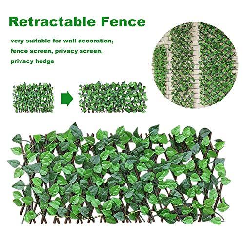 iBàste Vignes Vertes Plantes Artificielles Clôture Rétractable Décorative Jardin Clôture en Bois avec Topiaire Haie Plante Extensible Faux Artificielle Ivy Treillis Clôture