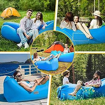 Hamac Gonflable Canapé avec Oreiller Air Sofa Portable Étanche Sac de Rangement Sofa Gonflable pour Voyager Camping Randonnée Parties de Plage (Bleu)