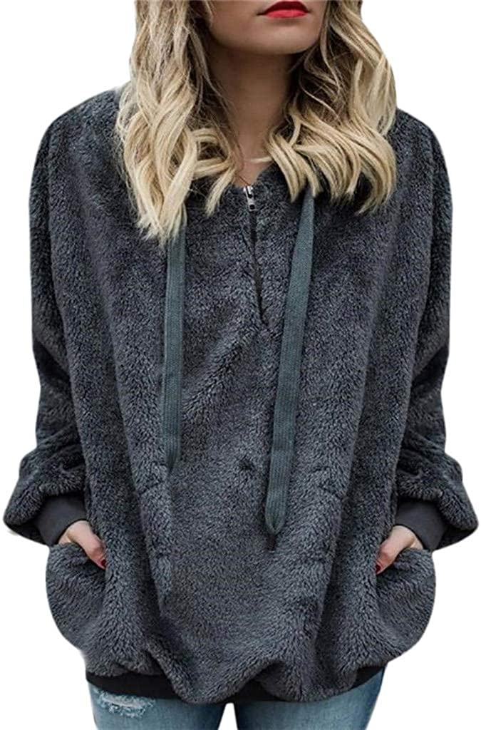 Women Casual Hooded Loose Solid Color Furry Wool 1/4 Zipper Long Sleeve with Pockets Pullover Hoodies Tops Sweatshirts