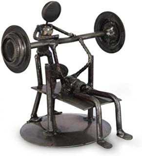 """NOVICA Recycled Auto Parts Sports Theme Iron Sculpture, 6.25"""" Tall 'Rustic Weightlifter'"""