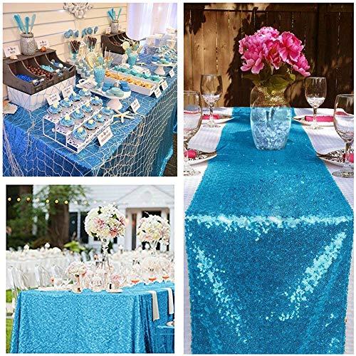 """QueenDream sheer sequin table runner 14""""x80"""" Aqua Blue sequin fabric sequin table runner sequins table runner for wedding party Halloween Decr aisle runner"""