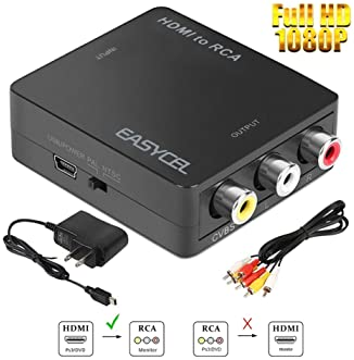 HDMI to RCA Converter, EASYCEL HDMI to Composite Converter, HDMI to AV Converter Adapter with RCA Cable and Power Ada...
