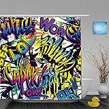 lovedomi Patrón abstracto de cómic y estilo urbano de graffiti texto yo popular Super Trash Wow LOL Decoración de baño Cortina de ducha de tela de poliéster 183 x 183 cm Set de accesorios de baño