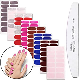 WOKOTO 8 Sheets Nail Polish Stickers With 1Pcs Nail File Pure Color Classical Adhesive Full Wraps Nail Decals Manicure Sticker Strips Set For Women
