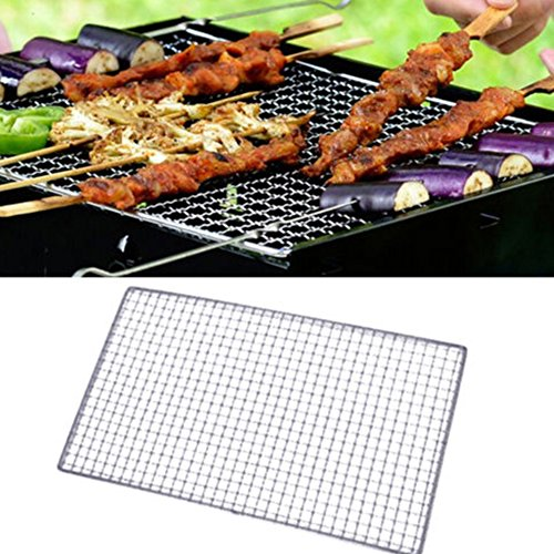 Grillrost für Fleisch, Burger, Fisch, langer Griff, rechteckig, zusammenklappbar, großes Grillgitter