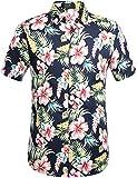 SSLR Men's Cotton Button Down Short Sleeve Hawaiian Shirt (Medium, Navy(102))