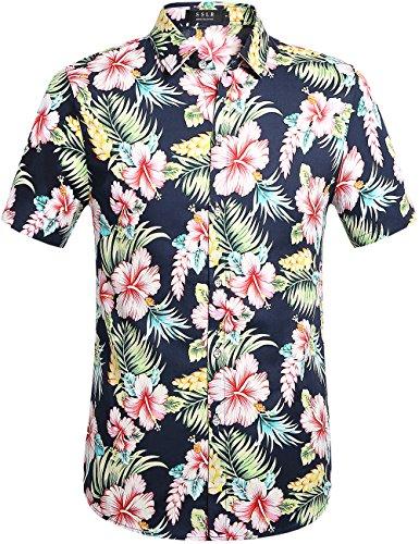 SSLR Herren Baumwolle Button Down Kurzarm Hawaii-Hemd Gr. 58  Navy(102)   Bekleidung > Hemden > Hawaiihemden   SSLR