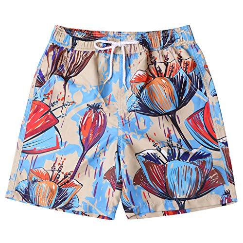 Xmiral Costume da Bagno Uomo, per Spiaggia, Mare, Surf, Design Moderno, vestibilità Comoda Stampa Casual Dipinta Personalizzata (4XL,2Cachi)