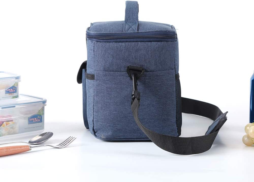 Meal Cooler Tote Organizer Navy. Reusable Freezable Leak Proof Lunch Box with Adjustable Shoulder Strap for Women Men Adult Office Work Picnic Hiking Ezek Insulated Lunch Bags