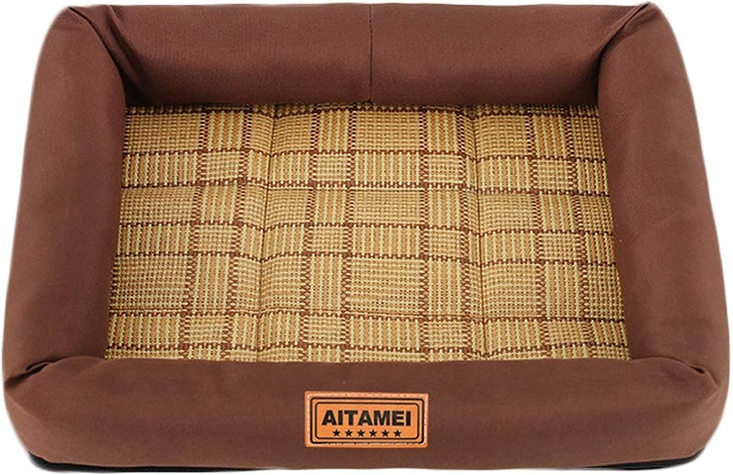 Pet Kennel Dog Sleep Bed Cat Comfortable Padded Soft Mat (color   Brown, Size   M)