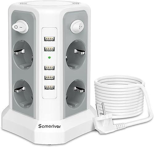 Sameriver 8 Voies Rallonge Electrique et 5 Ports USB, Tour Multiprise avec Câble 5M, Multiprise Parafoudre avec 4 Int...