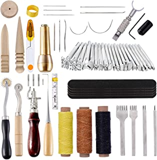 60 Pcs Leather Craft Hand Tools Kit,Leather Kit for Hand Sewing Stitching, Stamping Set, Saddle Making, Swivel Knife, Groover, Prong Punch, Leather Tools for DIY Leathercraft Carving Sewing Projects