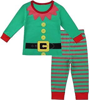 655fe4cac6aa6 dPois Bébé Fille Garçon Pyjama Noël Lutin Elf Costume de Noël Coton Tops  Pantalon Rayé Vêtements