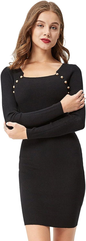 GLOSTORY Women's Casual Long Sleeve Autumn Sweater Mini Bodycon Dress Top 3312