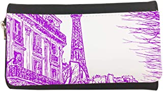 Abstract drawing of Paris in different colors Printed Leather Case Wallet