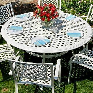Lazy Susan Weißes Valerie 150cm Rundes Gartenmöbelset Aluminium - 1 Weißer VALERIE Tisch + 6 Weiße MARY Stühle