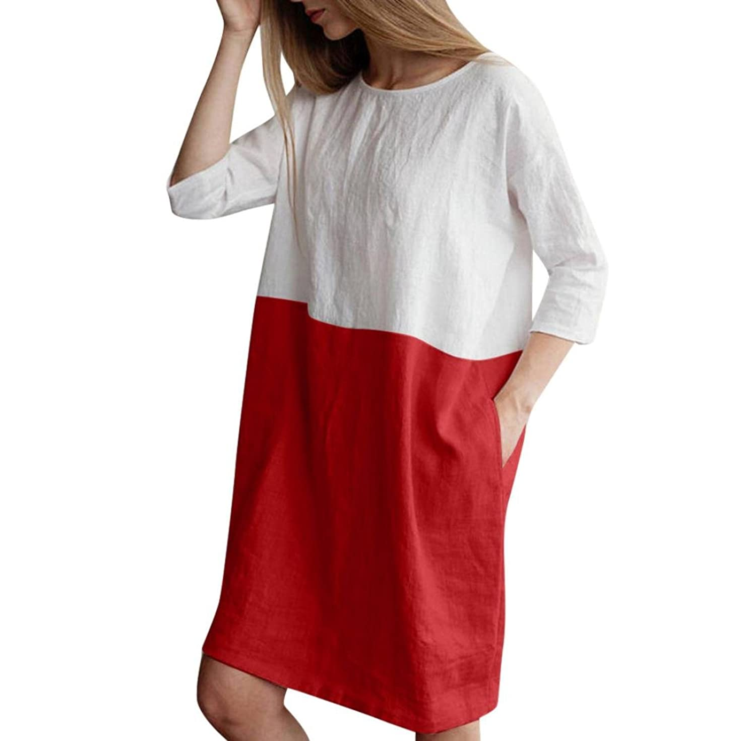 Vicbovo Clearance Sale!! Cotton Linen Dress, Women Patchwork 3/4 Sleeve Loose Cotton Linen Tunic Top Shirt Dresses