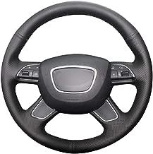 BESADERW Hand stitched Black Car Steering Wheel Cover,for Audi A4 (B8) A6 (C7) A7 A8 A8 L,for Allroad Q5 2013 2017 Q7