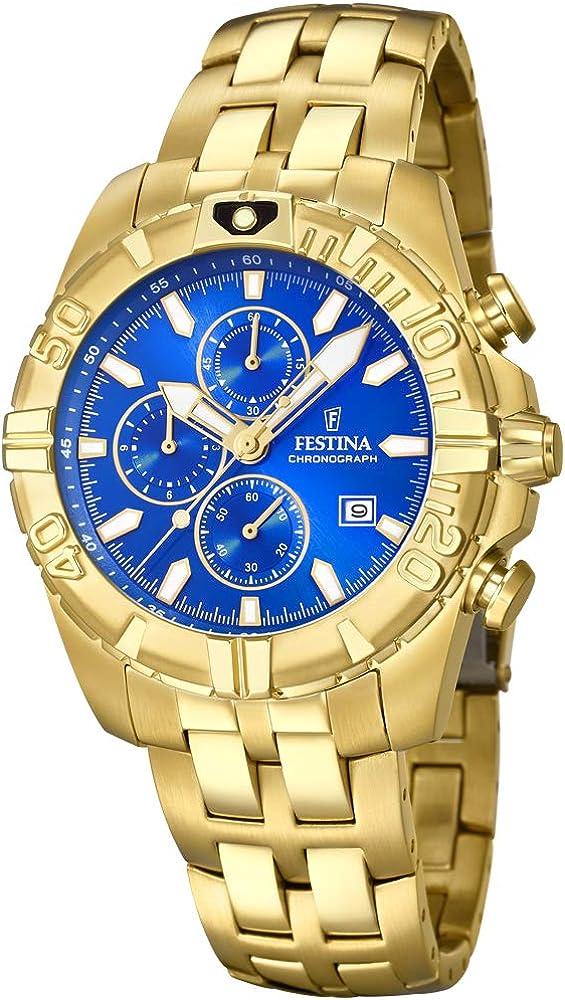 Festina orologio cronografo unisex in acciaio inossidabile placcato oro F20356/2