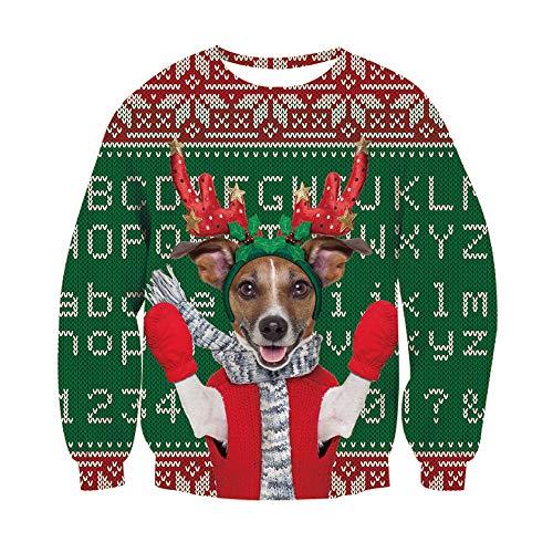 Belovecol Hässliche Weihnachten Sweatshirt Pullover 3D Elch Print Graphi Unisex Paar Weihnachtspullover Pullover L.