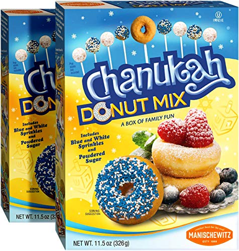 Manischewitz Hanukkah Donut Mix 11.5oz (2 Pack) Blue & White Sprinkles and Powdered Sugar Included, Great Chanukah Activity!