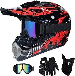 QYTK Motorradhelm Motocross Helm Kinder Rot Schwarz, MT-51 Full Face Off-Road Motorrad Cross Helme mit Visier Brille Maske Handschuhe, Motorbike ATV MTB Freien Sport Motorcycle Helmet Set