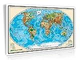 XXL/1,38 Meter - 3D Relief Optik - Original handgezeichnete Relief Weltkarte - antireflex-entspiegelt laminiert (riesen große Poster Wandkarte, Weltkarte, Großformat)
