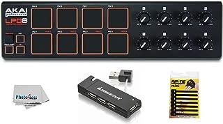 Akai Professional LPD8 USB-MIDI Pad Controller + 4 Port USB Hub + Pack of Cable Ties + Clean Cloth