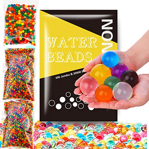 Non Toxic 300pcs Jumbo & 20000 Small Water Beads Gel Beads Kit for Kids-Value Package Sensory Toys and Decoration