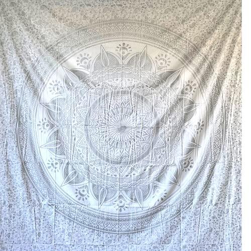 Momomus Tapiz de Mandala - De Algodón - Decoración de Paredes para Hogar - Grande, Versátil y Decorativo - Pareo/Toalla de Playa, Sofá, Colcha, Cubrecama (Plata, 210x230 cm)