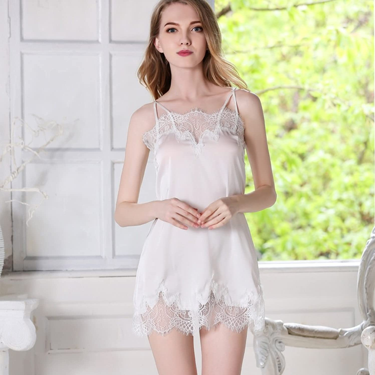 Spring and Summer New Ladies Silk Embroidered Shoulder Strap Design Brand Pajamas Sexy Nightdress CUIYAN