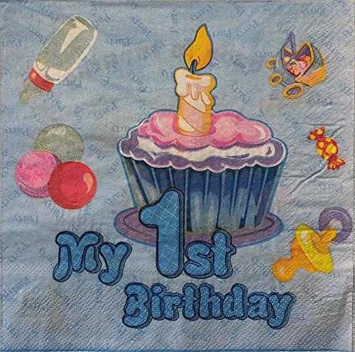 AEX 10 Pezzi Il Mio Primo Compleanno Tovaglioli di Carta soffice Tovaglioli Tovaglioli Stoviglie - USA e Getta 2 Volte - Cena di Compleanno Pranzo Forniture per Feste (Torta Candela Blu)