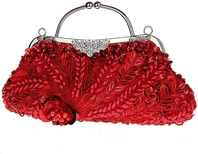 Ladies Handbag Women's Crystal Clutch Handbag Purse,Beaded Evening Bag Sequin Handbags (color   A, Size   31x19cm(12x7inch))