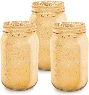Factory Direct Craft Set of 3 Metallic Gold Mercury Glass Mason Jars for Crafting, Decorating and Creating