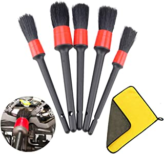 IPELY 5 Pack Detailing Brushes for Cleaning Engines, Wheels, Interior, Dashboard, Leather, Trim, Air Vents, Emblems with Towel