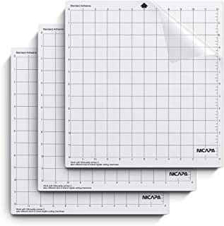 Nicapa Cutting Mat for Silhouette Cameo 3/2/1 [Standardgrip,12x12 inch,3pack] Adhesive&Sticky Non-Slip Flexible Gridded Cut Mats Replacement Matts Accessories Set Vinyl Craft Sewing Cloth