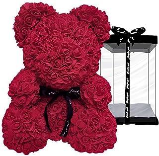 ローズ ベアー フラワー くま ぬいぐるみ 薔薇 造花 枯れない 花 バラ 母の日 クリスマス ホワイトデー バレンタイン 彼女 プレゼント 出産祝い 結婚祝い お見舞い 誕生日 ギフト インテリア 高さ25cm(ワインレッド)