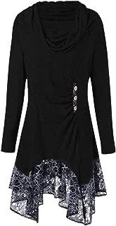 ✫Fashion Bow-Neck Dress,Women's Lace Patchwork Button Long Sleeve Irregular Mini Straight Dress
