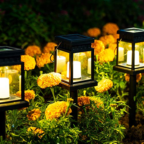 Solpex Solar Hanging Lantern Outdoor, 8 Pack Solar Pathway Lights Candle Effect Light with Stake for Garden, Patio, Lawn, Deck, Umbrella, Tent, Tree, Yard, Driveway-Warm White