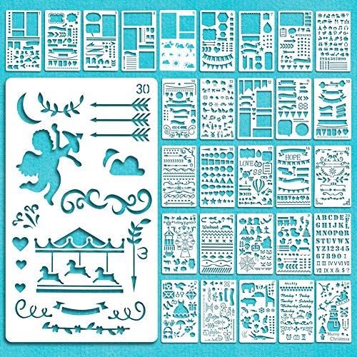 Vidillo Journal Stencil Set,30 Papier Bloem Template Stencils Plastic voor Drafting/Journal/Notebook/Dagboek/Scrapbook/Art Craft Projects/Schedule Book DIY Tekening Sjabloon, 4x7 Inch (A)