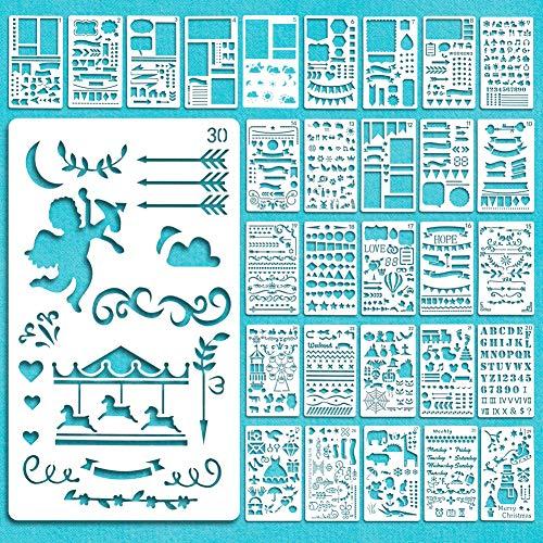 Vidillo Stencil Journal Bullet, 30 Pezzi Plastic Bullet Journal Stencil Template Set Planner di plastica con Lettere Alfabeto per DIY Drawing Template Ruler, Stencil per la Stampa di Diapositive