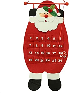 Ozzptuu Christmas Felt Cloth 3D Hanging Advent Calendars Countdown Wall Calendars for Indoor Christmas Decorations (Santa Claus)