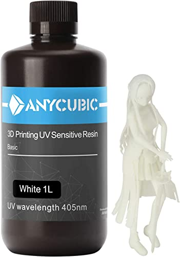 ANYCUBIC 3D Printer Resin, 405nm High Precision Fast Curing UV Photopolymer Resin for LCD 3D Printing 1000ml White